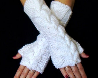 Fingerless Gloves  Wrist Warmers Snow White Cabled , Extra Long and Soft