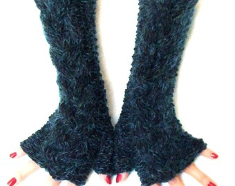 Knit Fingerless Gloves Navy Dark Blue Cabled