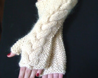 Fingerless Gloves Long Cream Cabled Extra Warm Wool Mohair Acrylic