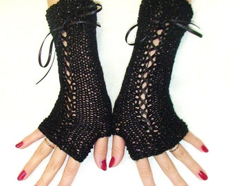 Fingerless Gloves Black Luxurious Corset  Wrist Warmers Lurex Satin Ribbons  Victorian Style for Petite Wrists