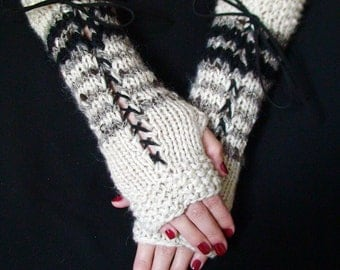 Fingerless Gloves Long Corset Natural  White Black Grey  with Black Suede Ribbons Victorian Style