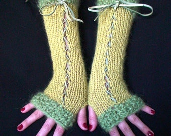 Fingerless Gloves Lime Chartreuse Mohair Wool Corset  with Leather Ribbons Victorian Style