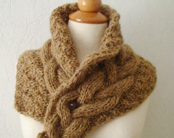 Cowl Neck Warmer Brown Handknit Cabled in Mohair Tweed Effect