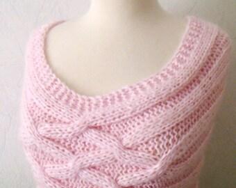 Cowl/ Shoulder Warmer Light Pink Mohair Romantic Luxurious