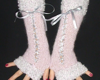 Fingerless Gloves Long Corset Arm Warmers Soft Pink with Silver White  edges and White  Satin Ribbons