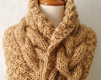 Chunky Cowl/ Neck Warmer Light Brown Handknit Cabled Warm Extra Thick in Soft Wool