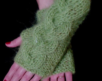 Fingerless Gloves Knit Wrist Warmers Cabled  Apple Green Wrist Warmers in Mohair, Warm and Thick