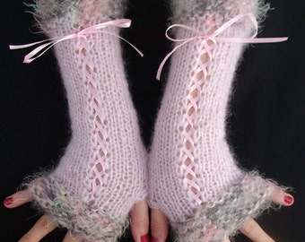 Fingerless Gloves Long Corset Light Pink with Khaki Pink Trims and  Satin Ribbons