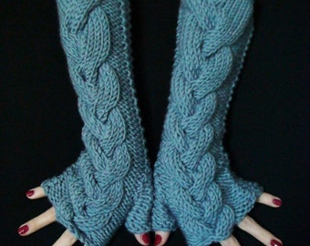 Fingerless Gloves Acrylic Blue Cabled  Wrist Warmers, Soft and Long