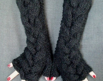 Fingerless Gloves Black Woolen Wrist Warmers Cabled Extra Long and Thick