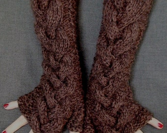 Fingerless Gloves Knit Brown Woolen Wrist Warmers Cabled Extra Long and Thick