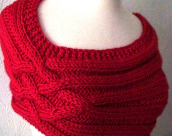 Cowl/ Capelet/ Shoulder Warmer Hand Knit in Red