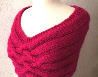 Cowl/ Shoulder Warmer Peony Pink Mohair Romantic