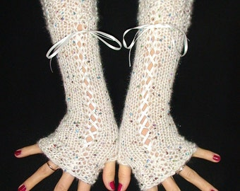 Fingerless Gloves Long Luxurious Corset Arm Warmers in White with Multicolour Beads and Satin Ribbons