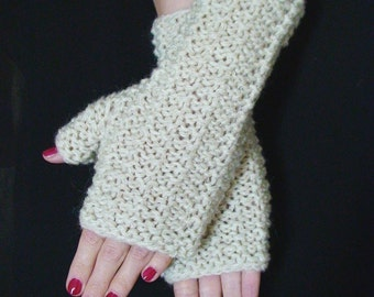 Fingerless Gloves Natural White Knit Wrist Warmers In Natural Wool Plus size