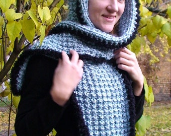 Scarf Hood Hat Light Blue Long Volume  in Natural Wool and Kid Mohair
