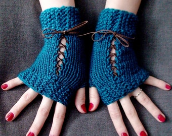 Fingerless Gloves Corset Wrist Warmers Handknit in Dark Ocean Blue/ Teal Victorian Style