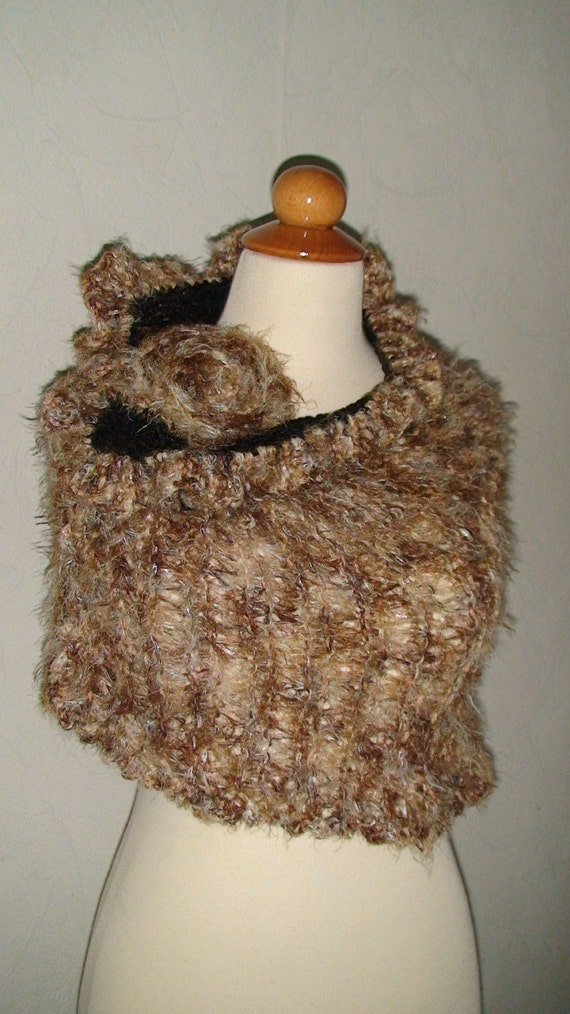 Capelet Wrap Brown Shades with a Flower Brooch SALE
