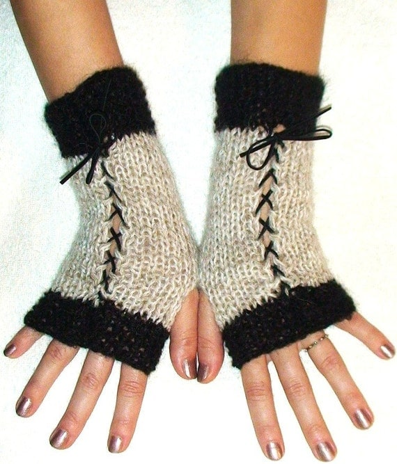 Luxury Fingerless Mohair Wool Gloves in Light Grey  and Black with Suede Ribbons Victorian Style