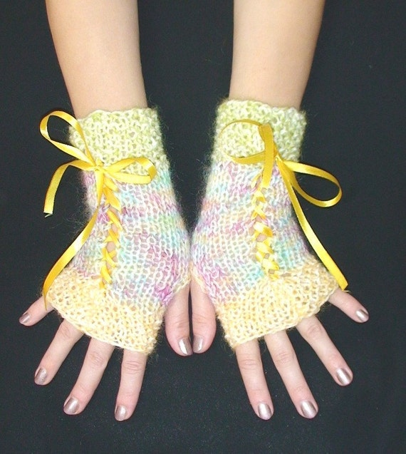 Knit Fingerless Gloves Mohair Wool in White Pink Yellow and Green with Satin Ribbons Victorian Style