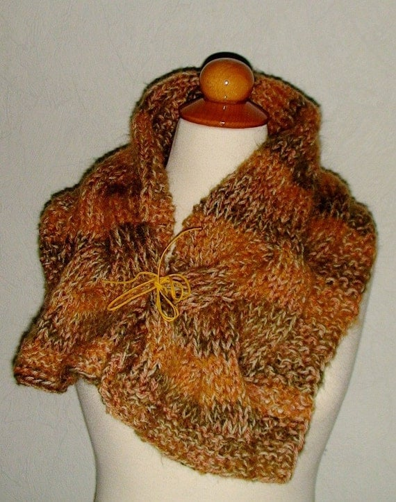Cowl Neck Warmer Wrap SALE Handmade Chunky Cabled Soft  in Spice Khaki Brown Natural White Copper in Natural Wool and Mohair