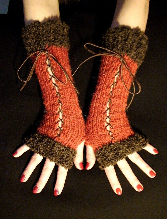 Long Fingerless Gloves in Burnt Spice with Brown Suede Ribbons and Dark Brown Boucle Edges Victorian Style