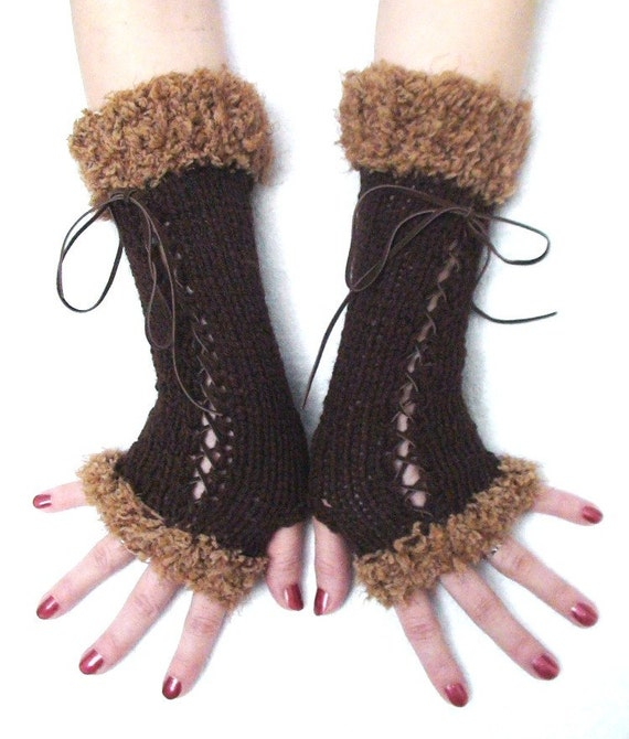 Fingerless Gloves Corset Arm Warmers in Camel and Dark Brown with Suede Ribbons Victorian Style
