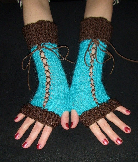 Fingerless Gloves Knit Long in Turquoise and Dark Brown with Suede Ribbons Victorian Style