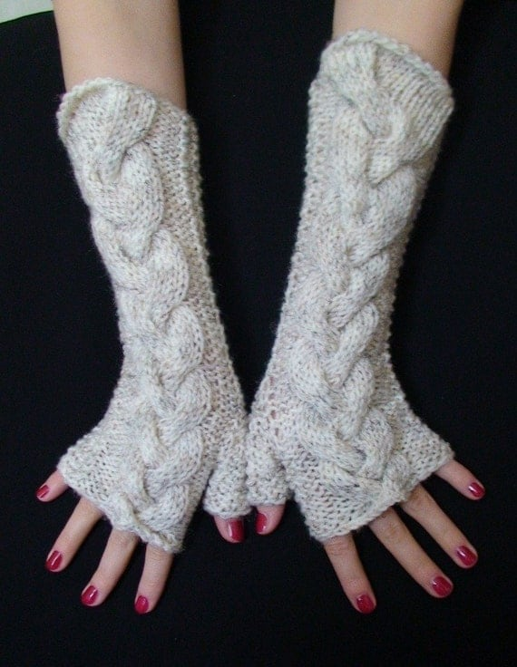Fingerless Gloves Woolen Acrylic Wrist Warmers Natural White Tweed  Soft Cabled