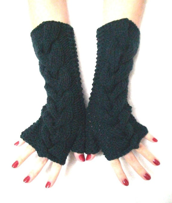 Fingerless Gloves/ Wrist Warmers Dark Ocean Green Soft Cabled