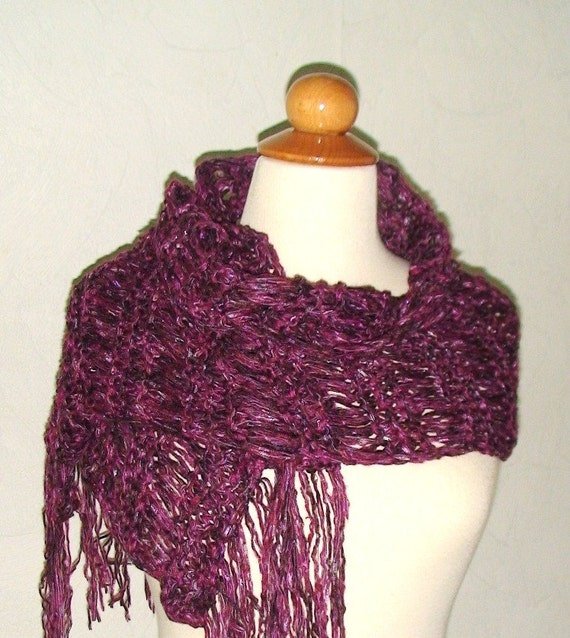 Handknitted Shawl Scarf Burgundy Brown and Fuchsia Pink with Fringes Clearance sale