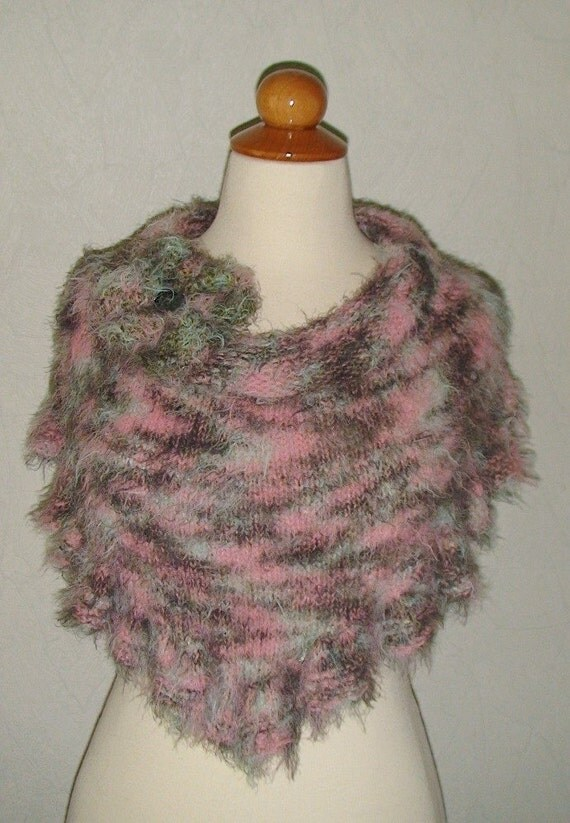 SALE Cowl/ Capelet/ Poncho Handknit Romantic Salmon Pink Peppermint Green and Khaki