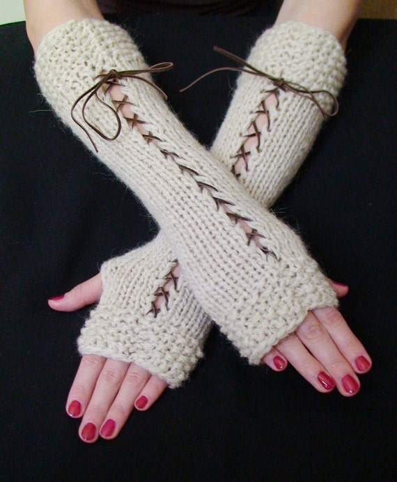 Fingerless Gloves  Natural  White Woolen Corset with Brown Suede Ribbons Victorian Style