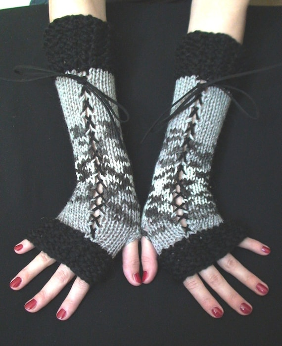 Fingerless Gloves Woolen Corset Wrist Warmers in Black Greys White with Black Suede Ribbons, Victorian Style