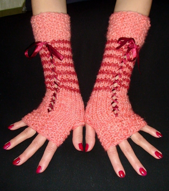 Fingerless Gloves Rose  Pink/ Dark Red Corset with Satin Ribbons, Super Warm