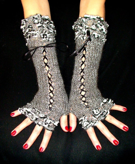 Fingerless Gloves Corset Silver Grey Luxury Wrist Warmers with Silver Black Lurex edges Satin Ribbons  Victorian Style