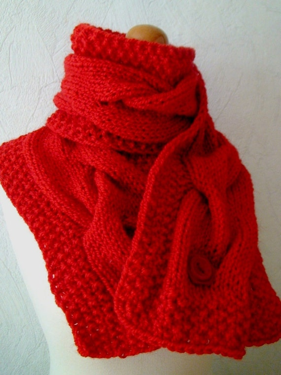 Scarf Red Handknitted Big Cabled Cowl in Red