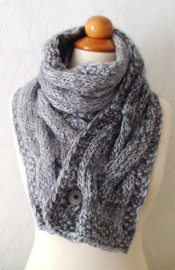 chunky scarf grey big winter knit cowl thick cabled and