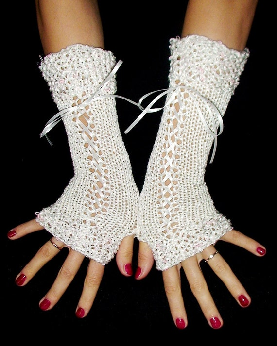 Fingerless Gloves Long Corset White with Silver White/ Pink Lurex Trims and White Satin Ribbons
