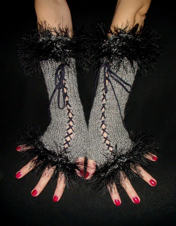 Fingerless Gloves Long  Corset Arm Warmers in Grey with Black Faux Fur Victorian Style