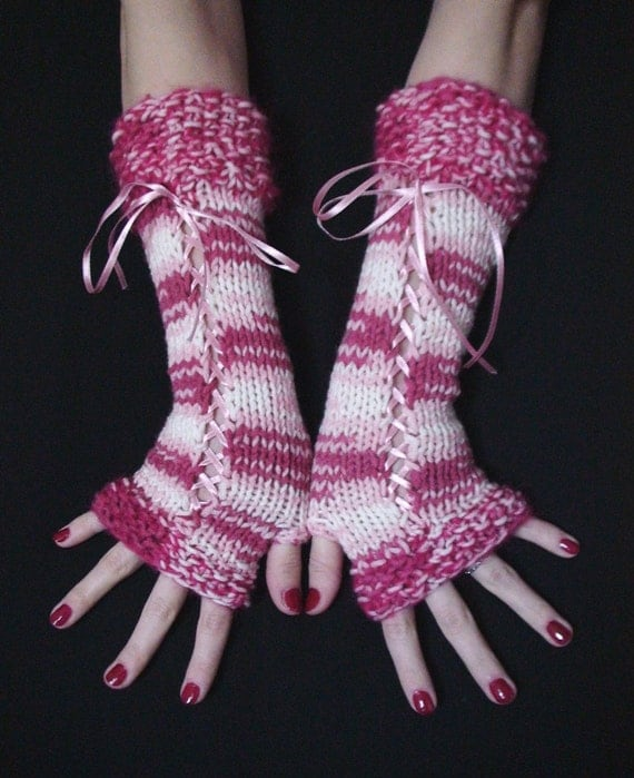 Fingerless Mittens, Gloves, Corset Wrist Warmers in Pink Shades and White with Satin Ribbons, Victorian Style