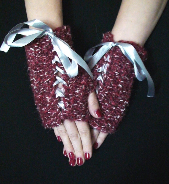 Fingerless Gloves Dark Red White  Wrist Warmers with Grey Satin Ribbons Handknit SALE