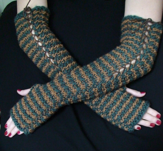 Fingerless Gloves Long Elbow Arm Warmers Brown Blue Green Extra Warm in Natural Wool