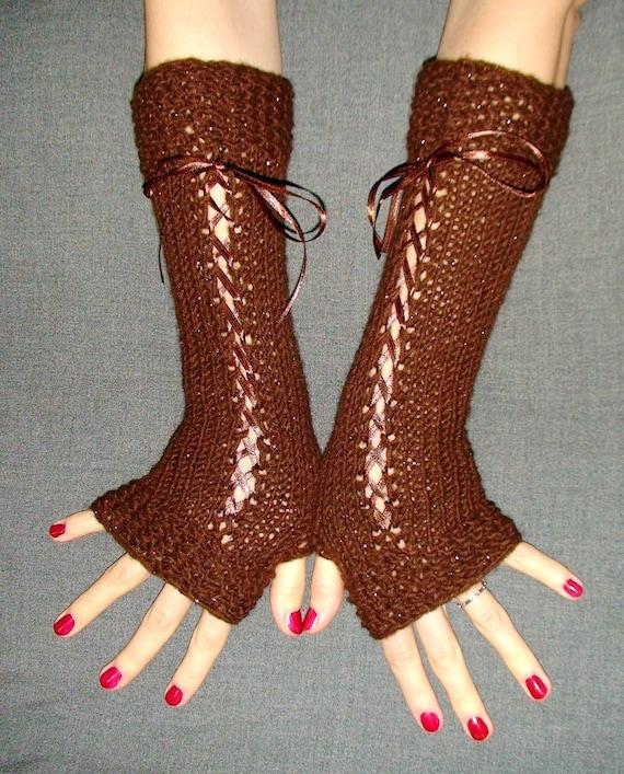 Fingerless Gloves Long Luxurious  Brown Sparkling  Corset Hand Warmers