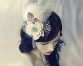 Art Nouveau Fascinator - Delicate Blue and Gray Sea Foam Skies and Fluffy Clouds - Cocktail Hat - Ready to Ship
