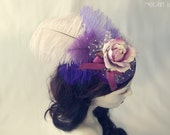 Purple Rose Fascinator - Feminine and Romantic - Sugarplum Fairy Lolita Doll Headpiece - Bridal - Ready to Ship