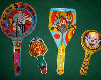4 Vintage Tin Litho Toys Noise Makers Fabulous Graphics Lithographed Tin