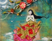 Moonlight Sonata - 10x10 mixed media original art