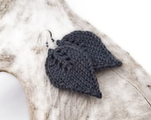Gray knit Leaf Earrings, dark grey charcoal leaves, handmade beaded knit fashion jewelry