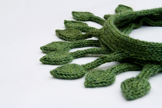 Green leaf Scarf, long knitted tree branch neckwear, knit leaves in dark green